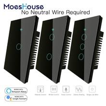 RF433 WiFi חכם קיר מגע מתג לא ניטרלי חוט צורך חכם יחיד חוט קיר מתג לעבוד עם Alexa Google בית 170 250V