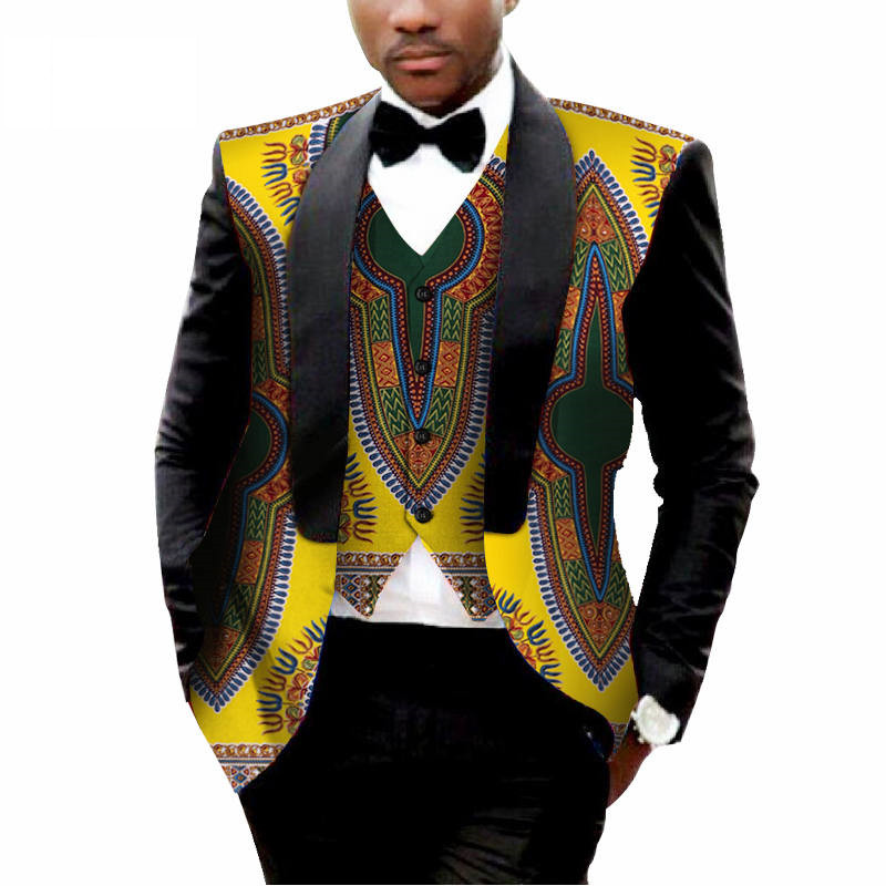 Party Wedding African Clothes Mens Printed Blazer Men Jacket Vest Fashion Slim Suits Dashiki Blazer WYN176