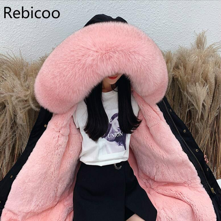 Plus Size Winter Women's Coats Natural Raccoon Fur   Parkas   Rex Rabbit Fur Lining Middle Long Jacket Coat Female