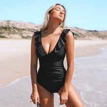 Sólido preto babados maiô de uma peça feminina sexy rendas até monokini banho 2021 nova menina praia fatos de banho