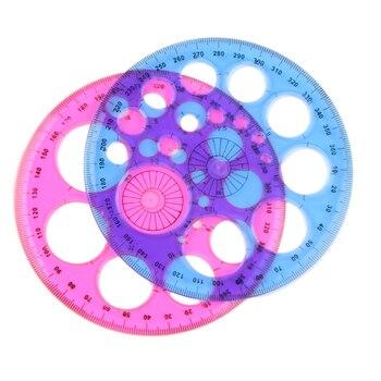 1 Uds de plástico azul rojo trescientos sesenta grados ronda regla Regla de Patchwork nueva papelería