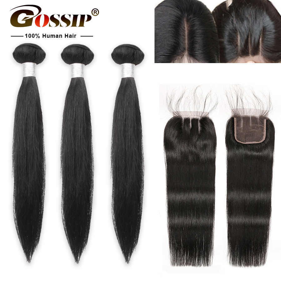 Brazilian Straight Hair Bundles With Closure Gossip Remy 100% Human Hair Bundles With Closure Pre Plucked With Baby Hair Closure