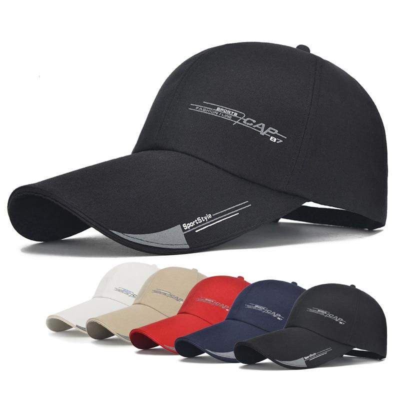 Latest Collection Of 2020 Sports Cap Mens Hat For Fish Outdoor Fashion Line Baseball Cap Long Visor Brim Shade Snapback Sun Hat Bone Gorras Bright In Colour