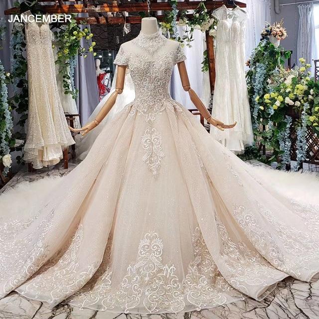 HTL634 elegante vestido de novia con tren de cuello alto de manga corta de encaje de cristal vestido de novia volante tren vestidos de noche vintage