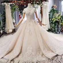 HTL634 zarif düğün elbisesi tren ile yüksek boyun kısa kollu kristal dantel gelinlik fırfır tren vestidos de novia vintage