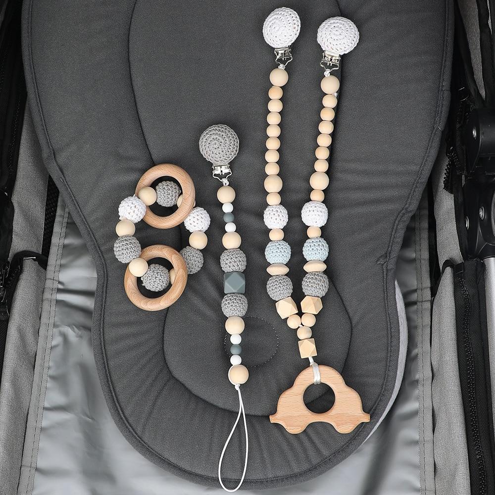 TYRY.HU-anneau de dentition en bois | Chaîne, sucette bébé, jouet dentition, poussette décor Silicone bébé