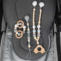 Tyry. hu mordedor de madeira do bebê carrinho de bebê corrente crochê chupeta dentição do bebê brinquedo decoração do bebê silicone mordedor
