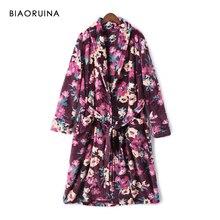 BIAORUINA mujer Vintage franela Floral impreso batas largas con fajas mujer invierno mantener caliente ropa de dormir Casual ropa interior