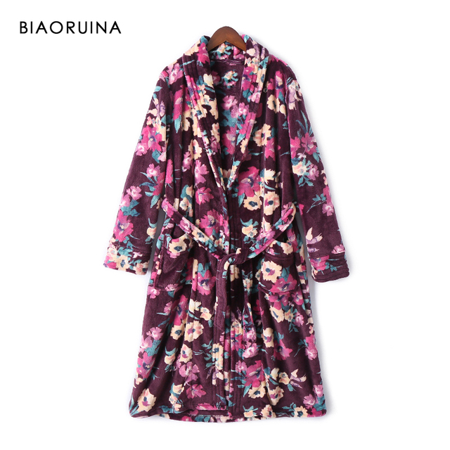 BIAORUINA Womens Vintage Flannel Floral Printed Long Robes with Sashes Female Winter Keep Warm Casual Sleep Clothing Underwear
