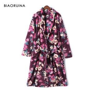 Image 1 - BIAORUINA Женские винтажные фланелевые длинные халаты с цветочным принтом и поясом, зимняя теплая Повседневная одежда для сна, нижнее белье