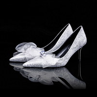 Women Wedding Shoes 10cm High Heels White Red Pumps Lace Bow Tie Pointed Toe Crystal Ladies Shoes Gunuine Leather Bride Shoes
