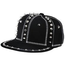 Snapback-Hats Punk Truckers Bone Baseball-Caps Men Black Iron-Ring-Chain Rivet Hip-Hop-Cap