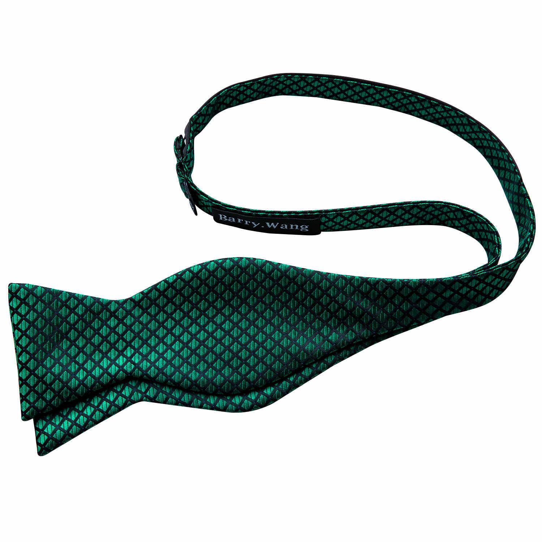 Erkekler için papyon katı yeşil papyon ekose ipek papyon seti mendil kol düğmeleri kontrol yaylar kendinden bağlı kravat Barry.Wang toptan