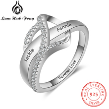 все цены на Personalized 925 Sterling Silver Knot Ring with Cubic Zirconia Custom Engraved Name Wedding Engagement Ring Gift (Lam Hub Fong)