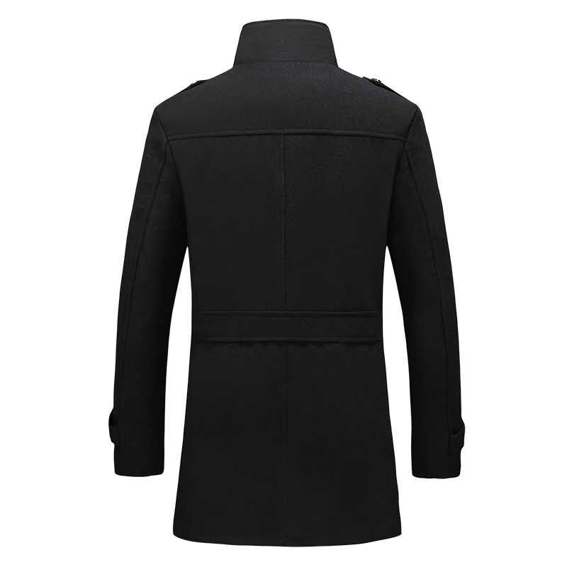 2019 kış erkek yün ceket moda karışımlı kat artı kadife kalınlaşma erkek kış sıcak uzun yün ceket M-5XL