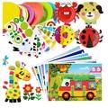 7Pcs Children 3D DIY Handmade Toys 2 Paper Plate Sticker Material 5 EVA Sticker Kids Kindergarten Art Craft Educational Toys GYH