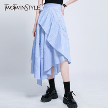 TWOTWINSTYLE Elegant Striped Asymmteircal Skirts Female High Waist Lace Up Ruffl