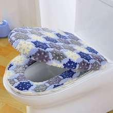 Warm Two-Pieces O-Shape Zipper Toilet Cover Seat Coral Fleece Travel Set for Bathroom Supplies