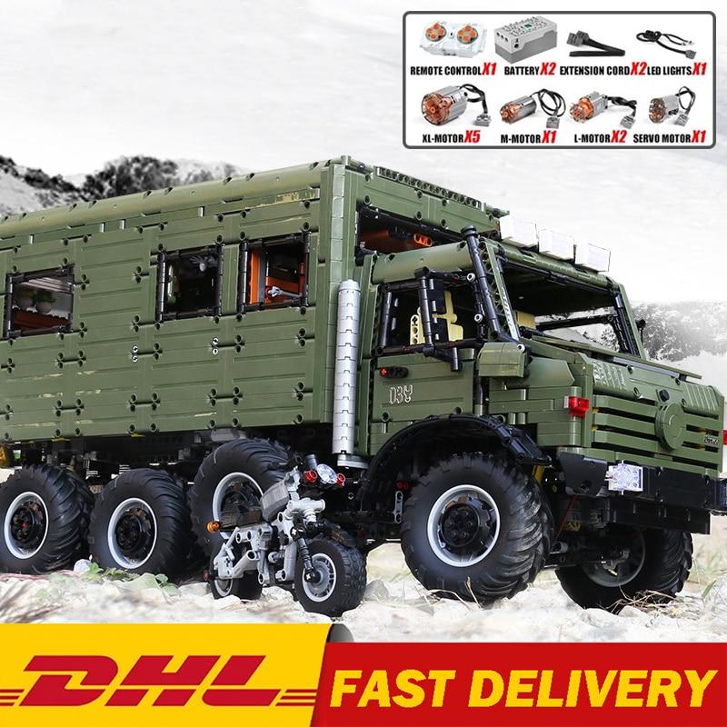 DHL J907 Technical Car Model The MOC Motorzied Nomadism RV Motorhome Truck Set Building Blocks Bricks Toys Kids Christmas Gifts
