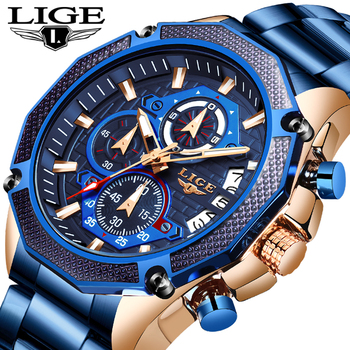 LIGE New Mens Watches Top Luxury Brand Business Blue Stainless Steel Quartz Watch Casual Waterproof Date Chronograph