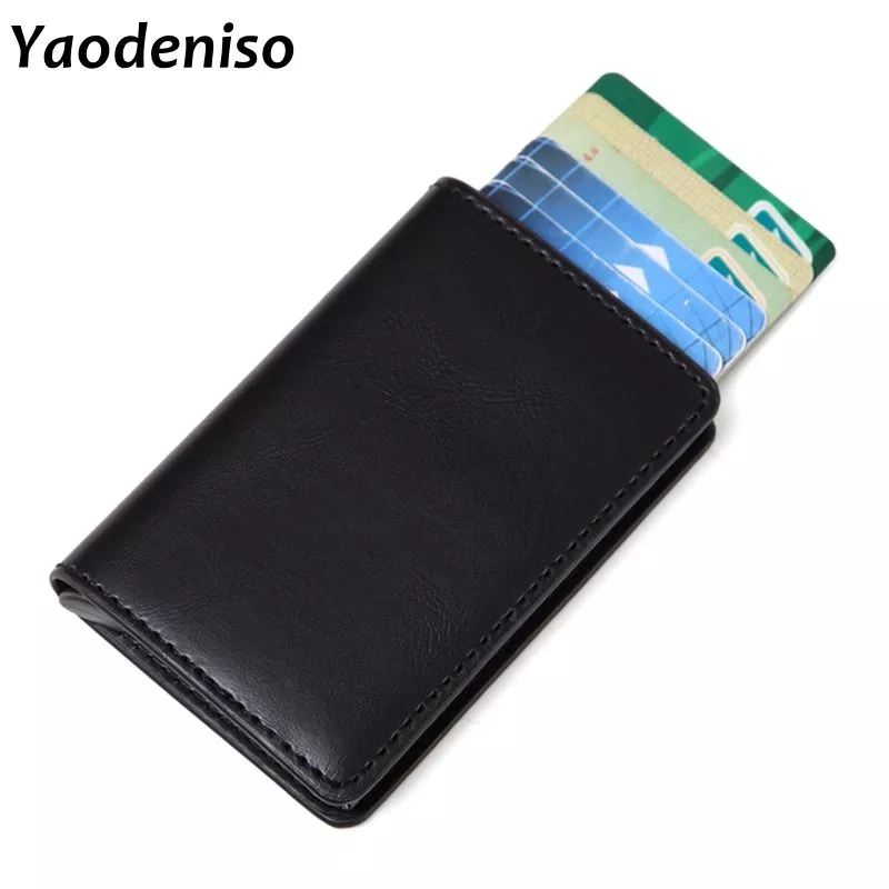 2019 Anti-theft Men Vintage Credit Card Holder Blocking Rfid Wallet Leather Unisex Security Information Aluminum Metal Purse