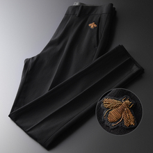 Minglu Black Mens Pants Luxury Embroidery Solid Color Man Pants Autumn Fashion Slim Fit Male Trousers Business Casual Suit Pants