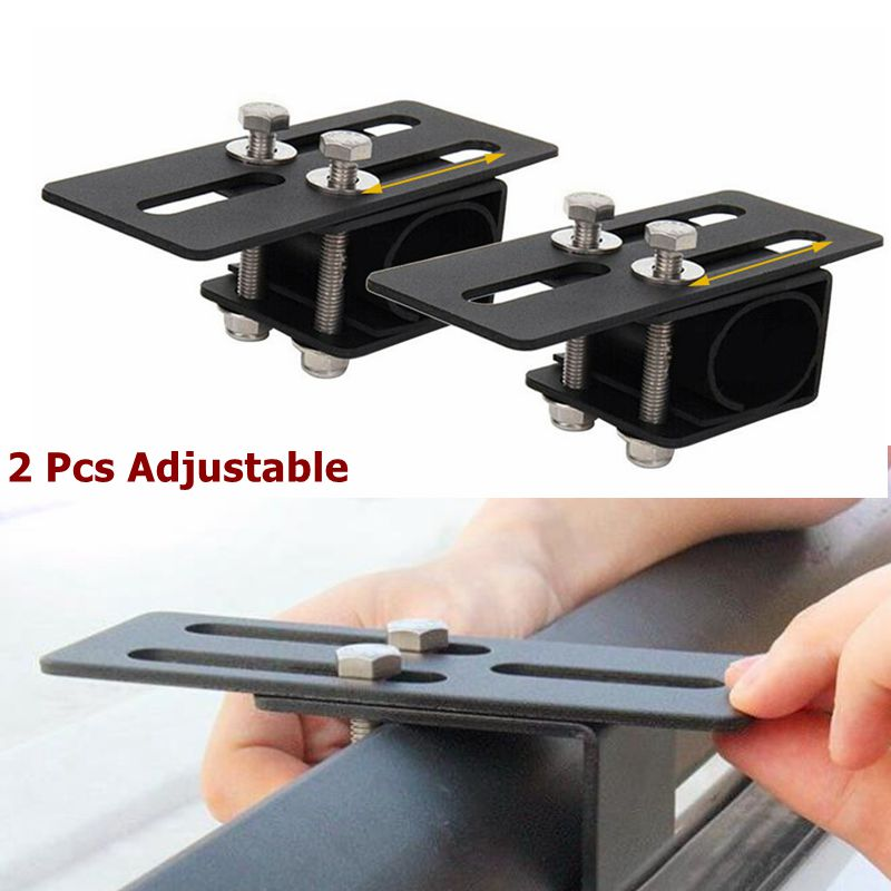 2 Adjustable Car Roof Rack Clamp Bracket Bumper Mounting Kit LED Light Bar Stand Work Lights Holder For Jeep Ford Off Road SUV image