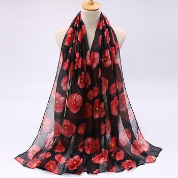Kobieta drukuj muzułmański hidżab szalik 2020 wiosna bawełna pościel szale szale Foulard Femme islamski wiskoza kwiat chusty okłady tanie i dobre opinie Patterened hijabs Dla dorosłych Kwiaty JERSEY PY392 Moda 85*180cm