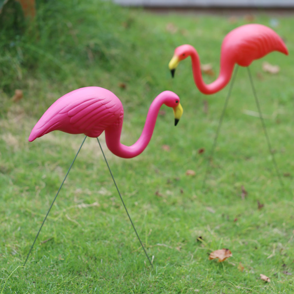 Large 44cm/33cm Artificial Flamingo Garden Gardening Decor Decoration Outdoor  Plastic For Villa Wedding Landscape Design Bird