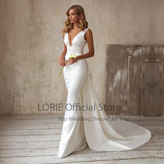 LORIE Elegant Mermaid Wedding Dresses with Detachable Train Bow White Ivory Boho Wedding Bridal Gown V-Neck abito da sposa 4