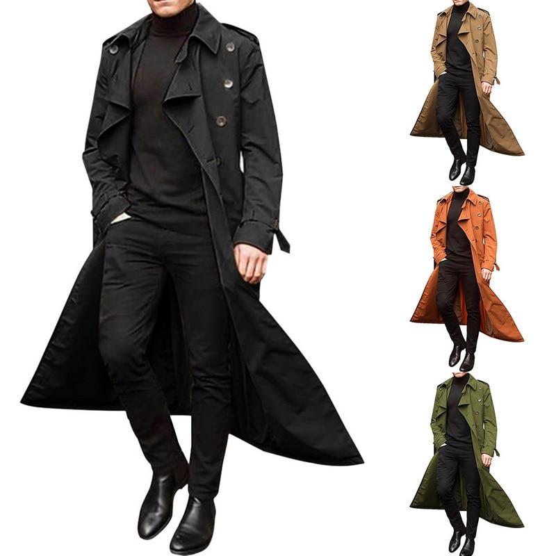 Hee566f8322064a2b887a0cd2bf76cb37j gentleman Long Slim Men Trench Coat Double-breasted Lapel Windbreaker Male Fashion Autumn Winter Coat Long Design Trench Male
