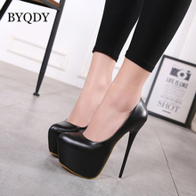 BYQDY Ultra High Heel Sexy Woman Pumps Shallow Waterproof Platform Shoes Wedding Party Leather Nightclub Footwear