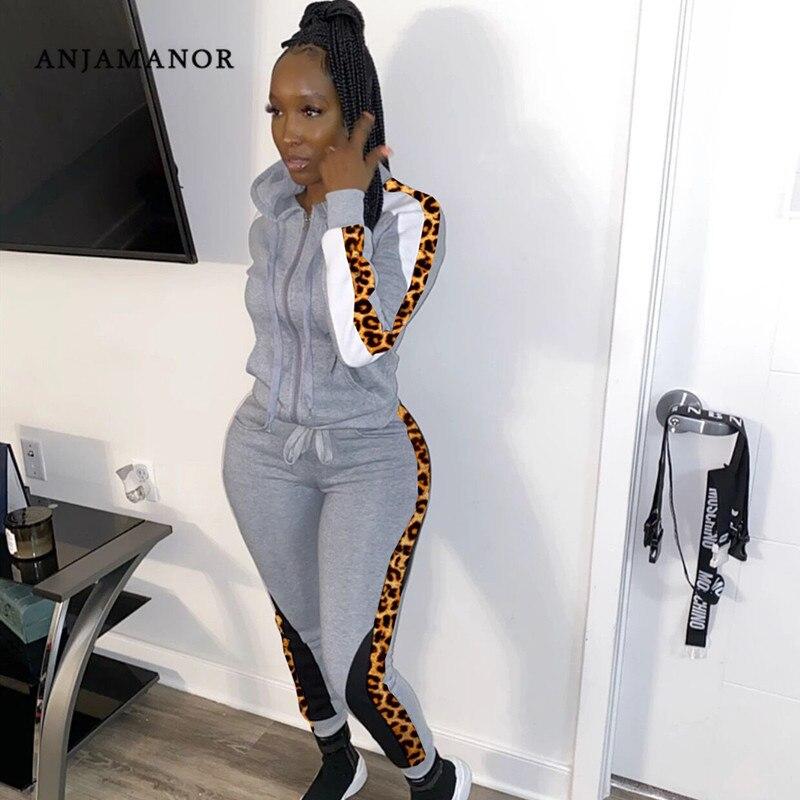 ANJAMANOR Leopard Print Women Tracksuit 2 Piece Joggers Set Autumn Winter 2020 Sports Hoodies Sweatpants Matching Sets D49-BZ35