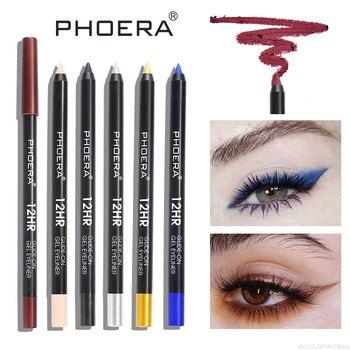 PHOERA 12 kolorów kolorowe matowy Eyeliner trwały wodoodporny dymu oczy makijaż naturalny czerwony niebieski czarny żel pod oczy długopis TSLM1