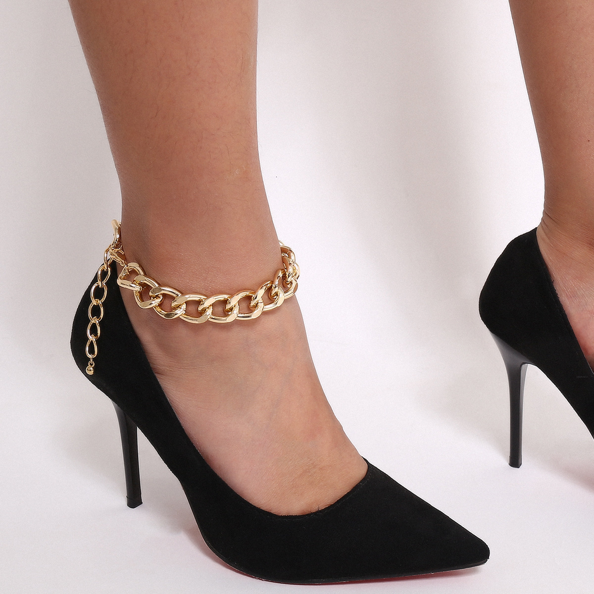 Youvanic Punk Gold Thick Anklet Cuban Link Chain Anklets For Women Sexy Chunky Ankle Bracelet Leg Chain Beach Foot Jewelry 0596