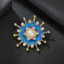 Hello Miss Retro enamel brooch flower temperament clothing accessories pearl pin fashion womens jewelry