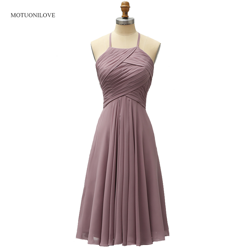 Halter Lovely Cocktail Party Dresses Knee Length Chiffon Short Prom Gowns Homecoming Dress Woman's Wedding Party Guest Dresses