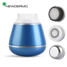 NEWDERMO 3 In 1 Ultrasonic Face Cleansing Brush Electric Facial Cleanser Remove Blackhead Acne Pore Vibration Massage Care Tool