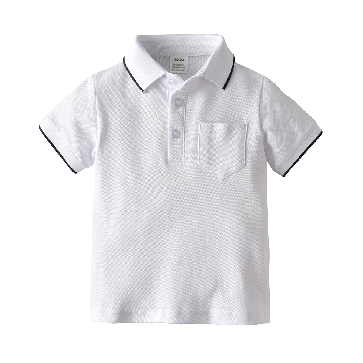Hot Selling BOY'S Dark Blue Short Sleeve POLO Shirt Children Fold-down Collar Tops T-shirt Half Cardigan Lapel T-shirt