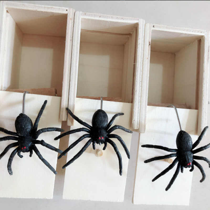 Toy Funny Gift Wooden Scare Box Scaring Trick Play Joke Prank Spider In the Case