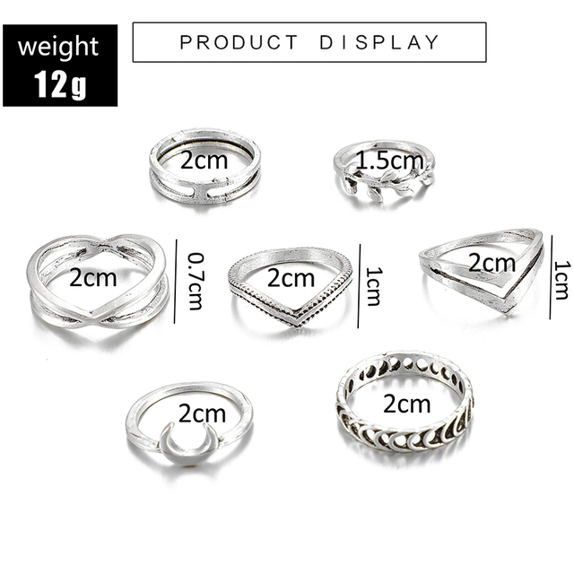 docona Leaf Moon Crescent Rings for Women Antique Punk Knuckle Midi Rings Set Vintage Anillos  Jewelry Accessories 7pcs/set 9893 4