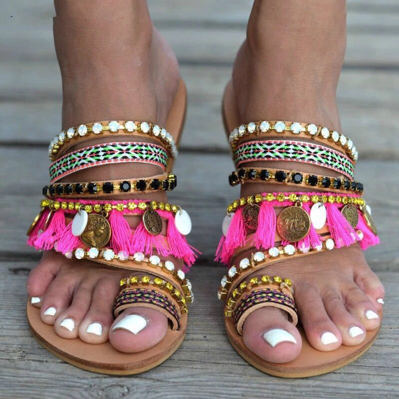 Bohemian Beach Sandals Ladies Ethnic Style Flat Sole Handmade Weave Plus Size 35-43 Fashion Breathable Lightweight Beach Sandals