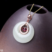 KJJEAXCMY Fine Jewelry S925 sterling silver accessories wholesale fashion ladies gold plated Hetian jade pendant new clothing wi