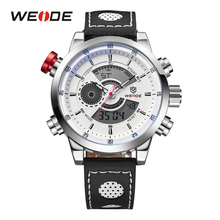 WEIDE Military Watches Men Luxury Brand Alarm Clock Japan Quartz Leather Strap Analog Digital Waterproof Sport Chronograph weide brand simple sport watches three time zone analog digital display 30m waterproof big white dial with leather strap 2305