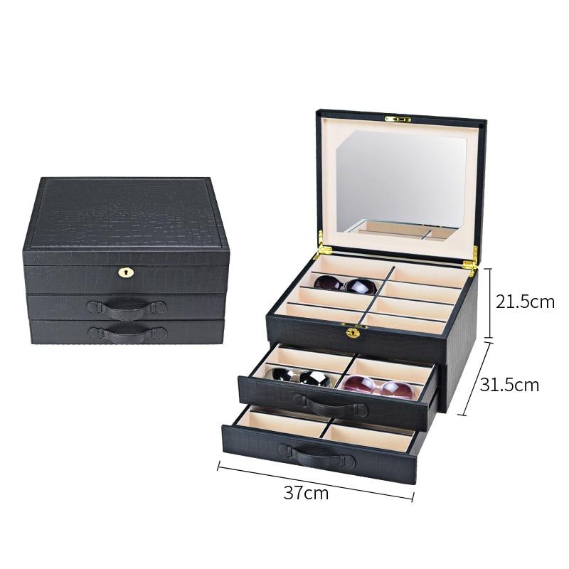 Роскошная коробка для очков 24 солнцезащитные очки коробки для хранения для очков Органайзер витрины для ювелирных украшений высококачественная искусственная кожа - Цвет: Black Crocodile PU