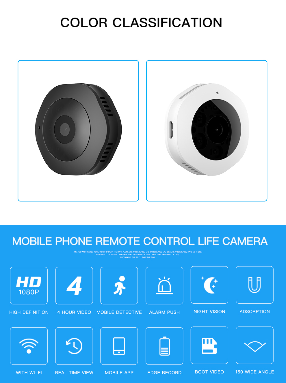 Volemer H6 DVWifi Micro Camera Night Version Mini Action Camera with motion Sensor Camcorder Voice Video Recorder Small Camer (2)