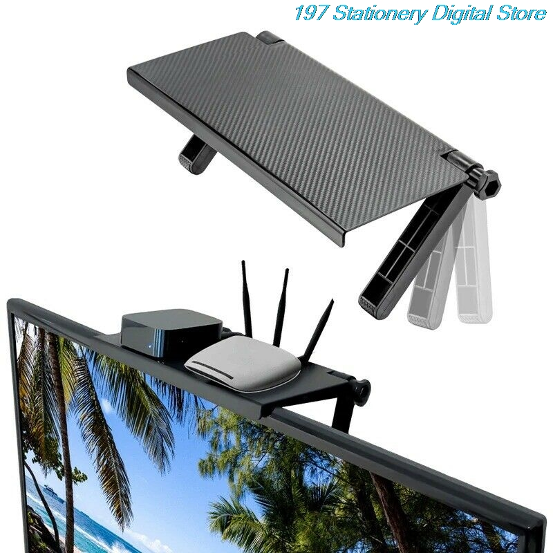 Desktop Storage Organization TV Top Shelf Holder Practical Home Computer Monitor Screen Rack Office Multi-Functional Organizer