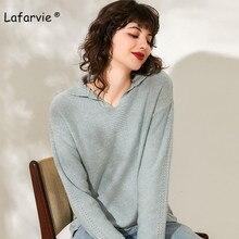Lafarvie Knited Wool Blended Turndown Collar Sweater Women Tops Autumn Winter Full Sleeve Loose Warm Side Split Pullover Female