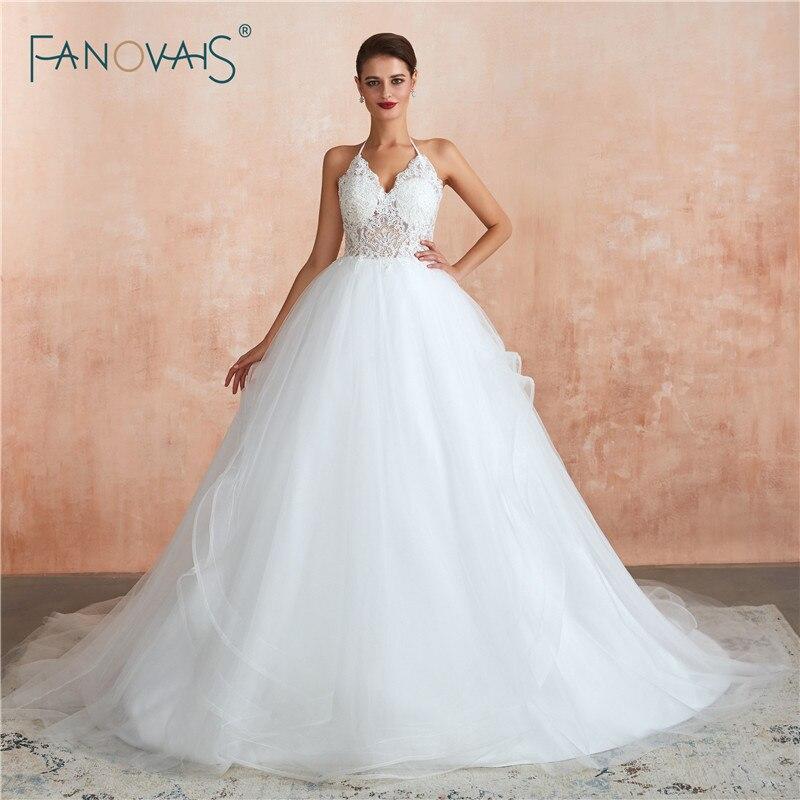 Vintage princesse robe de bal robe de mariée 2019 licou paillettes dentelle robes de mariée pure Top Dubai robe de mariée Vestido de Noiva
