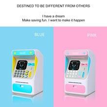 Banco de Ahorro de ATM para niños, dispositivo de simulación de ahorro de dinero en efectivo, automático, rosa, juguete electrónico